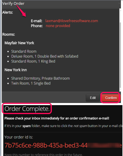 confirm your order and wait for alerts