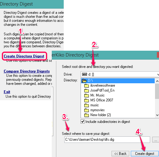 create directory digest