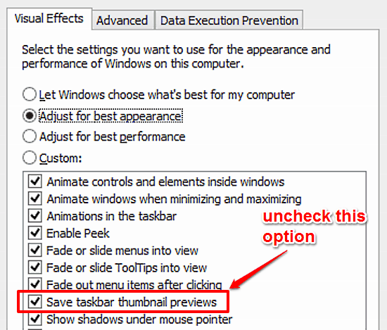 disable saving of taskbar thumbnail previews