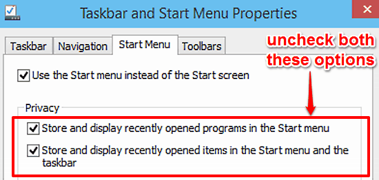 disable storing recently opened items and programs