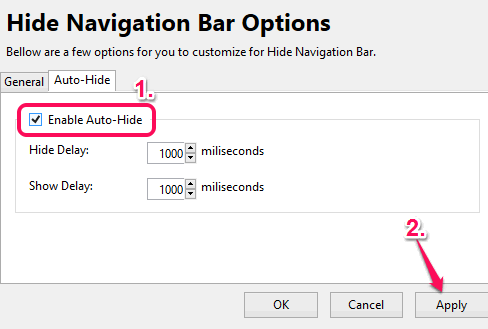 enable auto hide feature