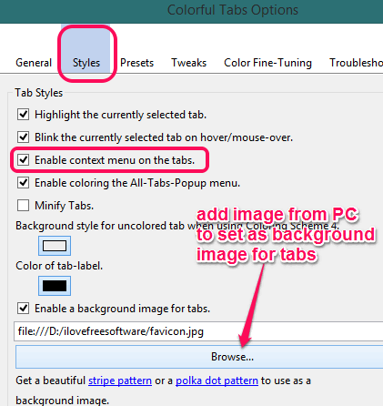 enable context menu integration and insert background image for tabs