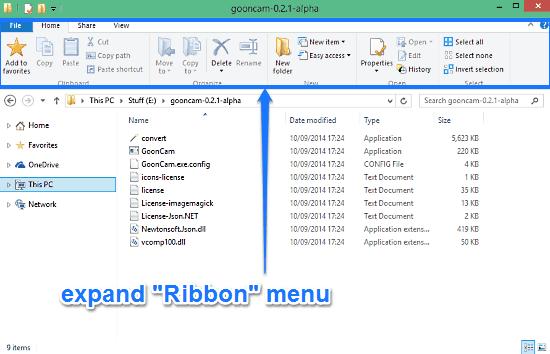 expand ribbon menu