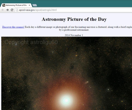 homepage of Astronomy Picture of the Day website