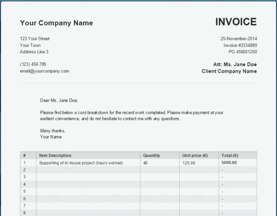 Free Online Invoice >> A Basic Simple Online Pdf Invoice Generator