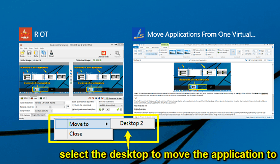 move application to another desktop