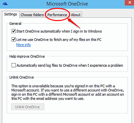 onedrive settings choose performance tab