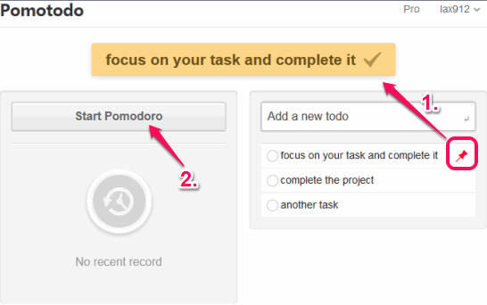 pin a task and start pomodoro