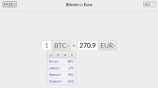 preev bitcoin conversion