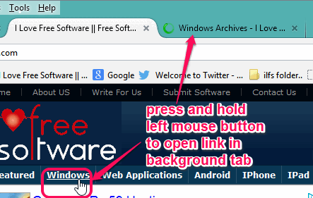 press and hold left mouse button to open a link in background tab
