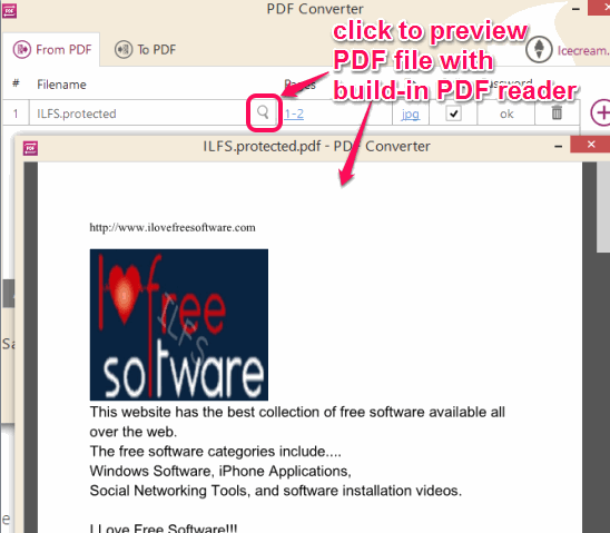 preview a PDF file with its build-in PDF reader