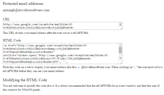 reCAPTCHA Mailhide URL and HTML Code