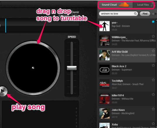 search and add songs to turntables