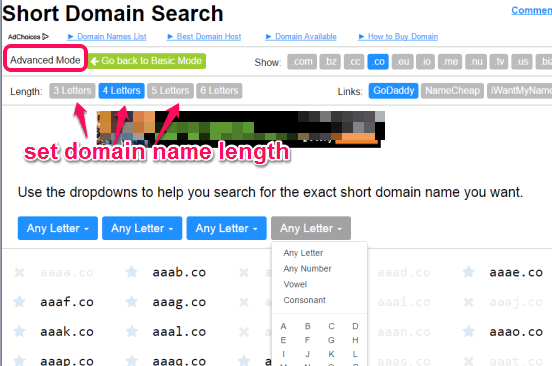 search domains with advanced mode