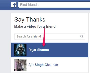 select a friend for creating thank you video