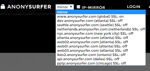select a server to use AnonySurfer