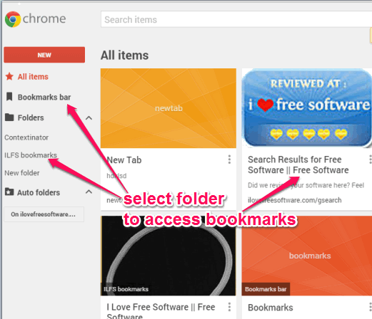 select folder to access bookmarks