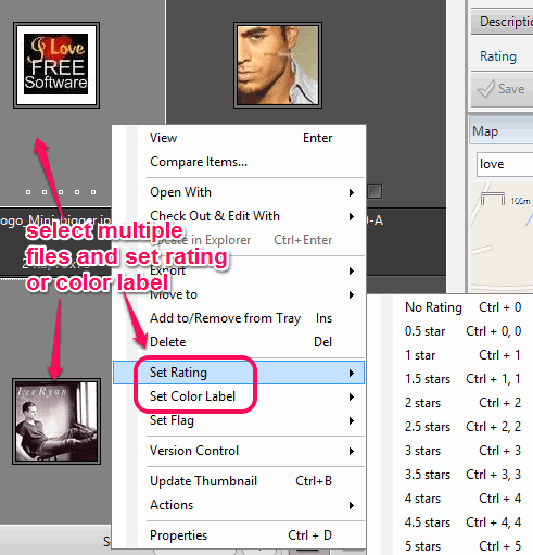 set rating and color label to multiple files together