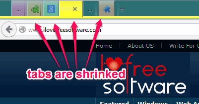 shrink size of tabs