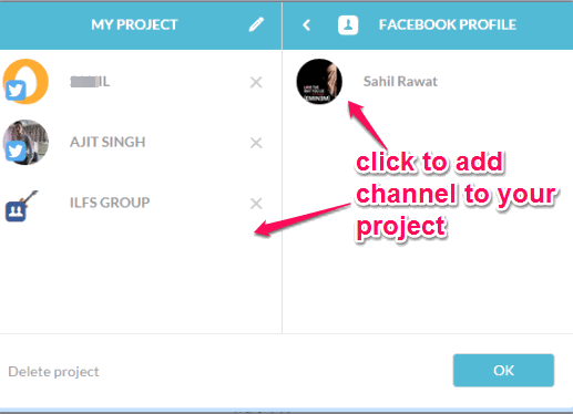 sign in to your social network and add channel to your project