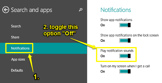 turn app notification sounds off