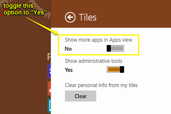 turn on show more apps in apps view