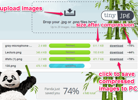 upload images and download compressed images