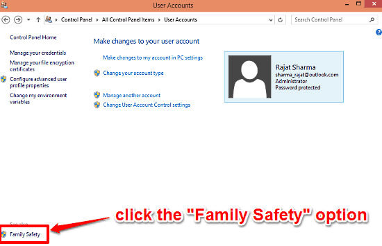 windows 10 access family safety