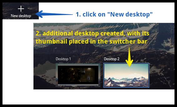 windows 10 additional desktop created