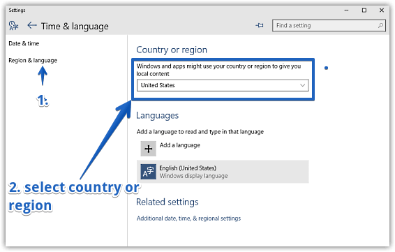 windows 10 change country or region