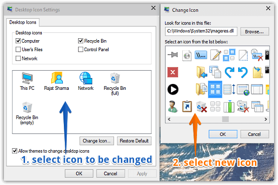 windows 10 change desktop icons
