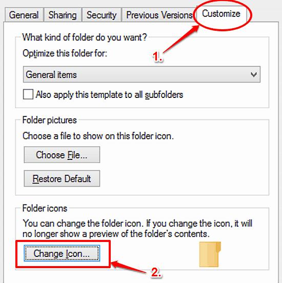 windows 10 change folder icon on customize tab