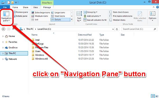 windows 10 click navigation pane
