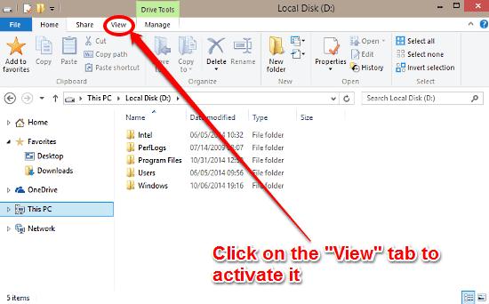 windows 10 explorer select view tab