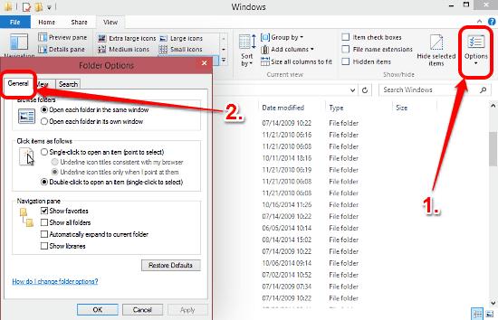 windows 10 folder options general tab
