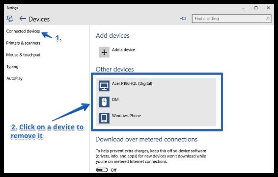 windows 10 remove a device