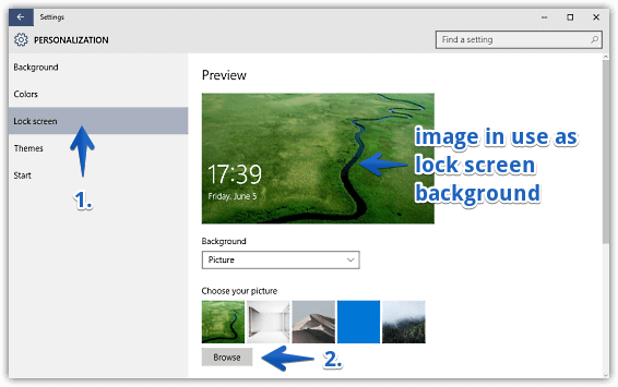 windows 10 select custom image as lock screen background