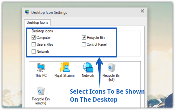 windows 10 select icons to be shown