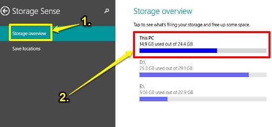 windows 10 storage sense suboptions