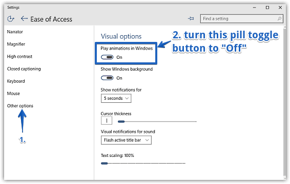 windows 10 turn off window animations