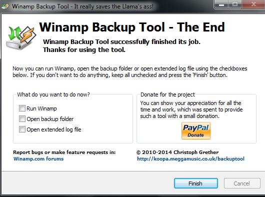 Backup Confirmation Message
