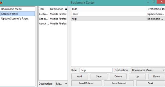 Bookmark Sorter- interface