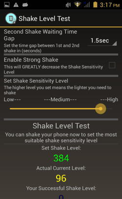 C Shaker for Android Sensitivity