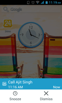 Call-Task Pop-up in 24me for Android