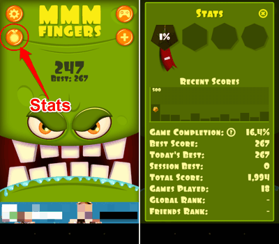 Career stats in Mmm Finger for Android