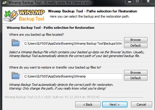 Choose Backup Location