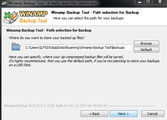 Choose Backup Storage Location