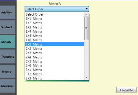 Choose Order of Matrix