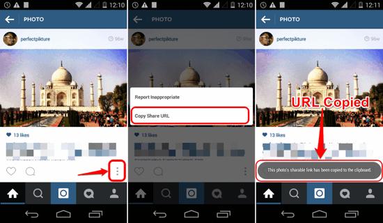 Copy URL from Instagram post