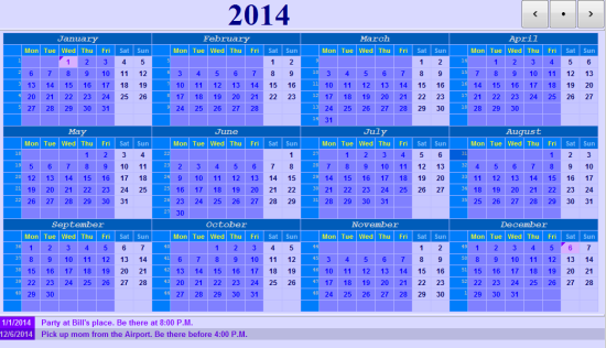 Free Calendar For Windows - Ultimate Calender - Interface